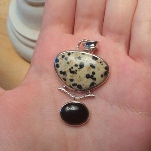 Sterling silver black onyx and Jasper pendant